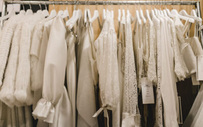 Rack of bridal gowns in the Calèche boutique
