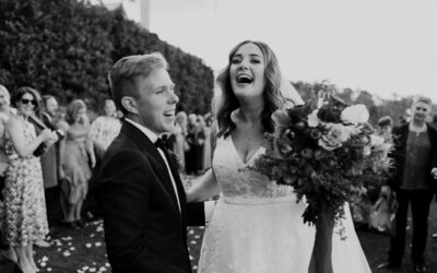 Calèche Real Bride Frances & Dylan - at the ceremony B&W